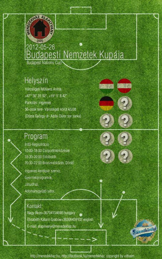 plakat konkursy piłkarskiego na rzecz schroniska dla bezdomnych Menedek